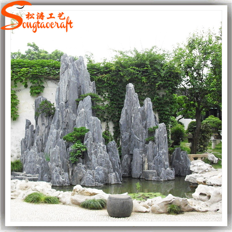 Discount artificial landscaping slate rock fiberglass fake for Rock waterfall