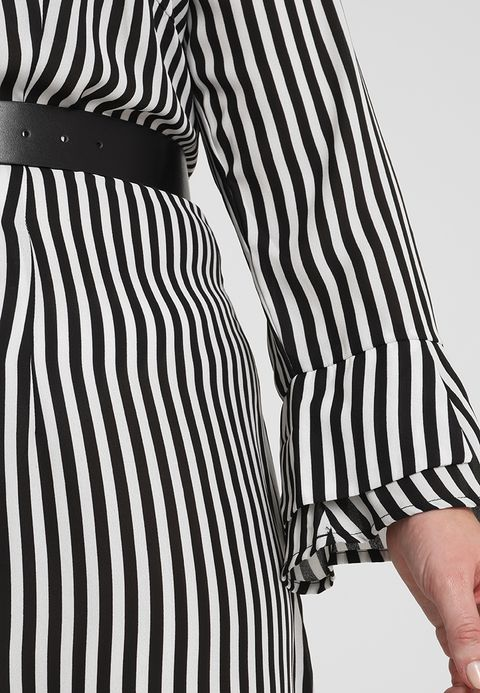 fashion plus size clothing long sleeve striped pattern dresses