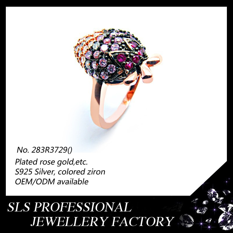 Colored CZ micro paved fashion strawberry shape ring rose gold ring silver jewellery in dubai