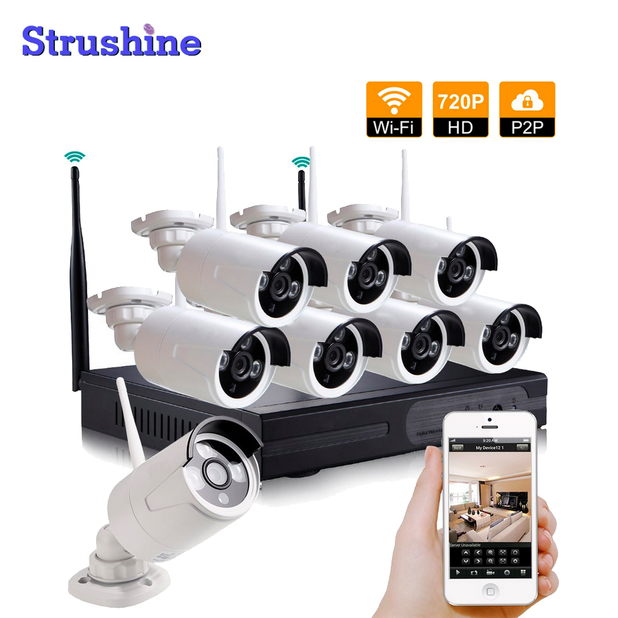 Factory Directly Cheap 8CH NVR Wireless CCTV System 8pcs 720P IP Camera Waterproof Home Security Surveillance Kit