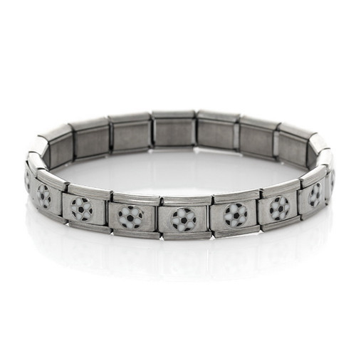 Fashion Design Silver Tone Football Pattern Enamel Black White Italian Charm 18 Links Stretch Bracelets