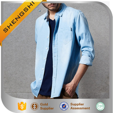 Kemeja fancy men jeans shirt fishing dry denim shirt men