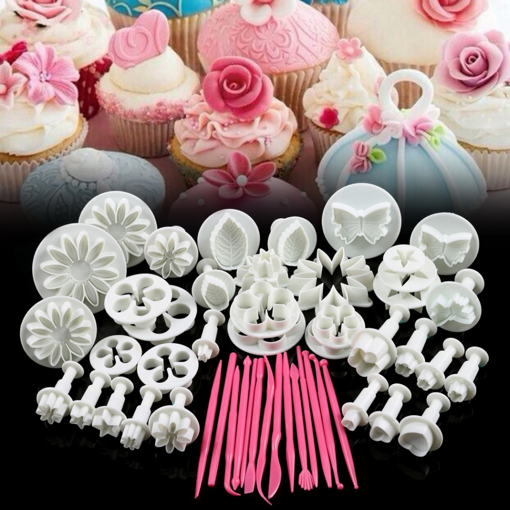47pcs Flower Sugarcraft Fondant Icing Plunger Mold Mould Cake Decorating Tools