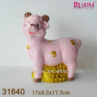 Sheep shaped pink ceramic coin counting money jar