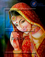 Shenzhen Wholesale High Quality Home Decoration Canvas Handpainted Beautiful Rajasthan Lady Oil Painting