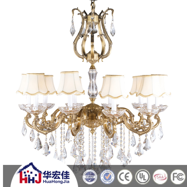 220 Volt Crystal Ball Glass Bobeche Chandelier Imported