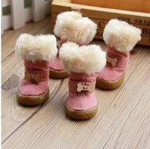 Pet dog snow boots padded non-slip shoes dog fur collar warm winter shoes