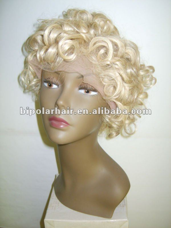Short blonde soft curl hair full lace wig