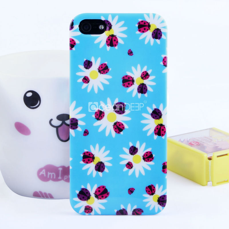 Bright color rubberized water decal case for iphone5 mobile phone case in Guangzhou