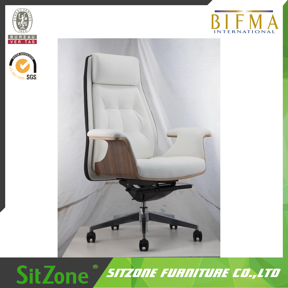 2016 New Model BIFMA high back Leather Chair with Wood CH-187A