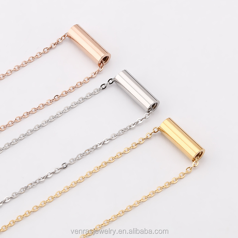 Silver/Gold/Rose Gold Plated Plain Stainless Steel Tube Charm Thin Chain Necklace