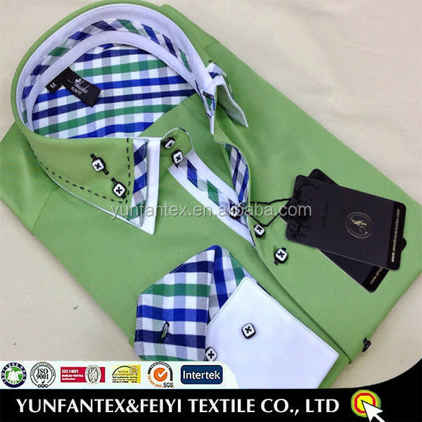 2015 latest fashion double collar cotton man designer shirt