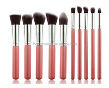 Fast shipping wholesale high quality professional portable cosmetic foundation brush set mini 10 pieces pink makeup brushes