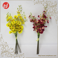 Home accessory silk artificial flower bundle popular faux dancing orchid flowers