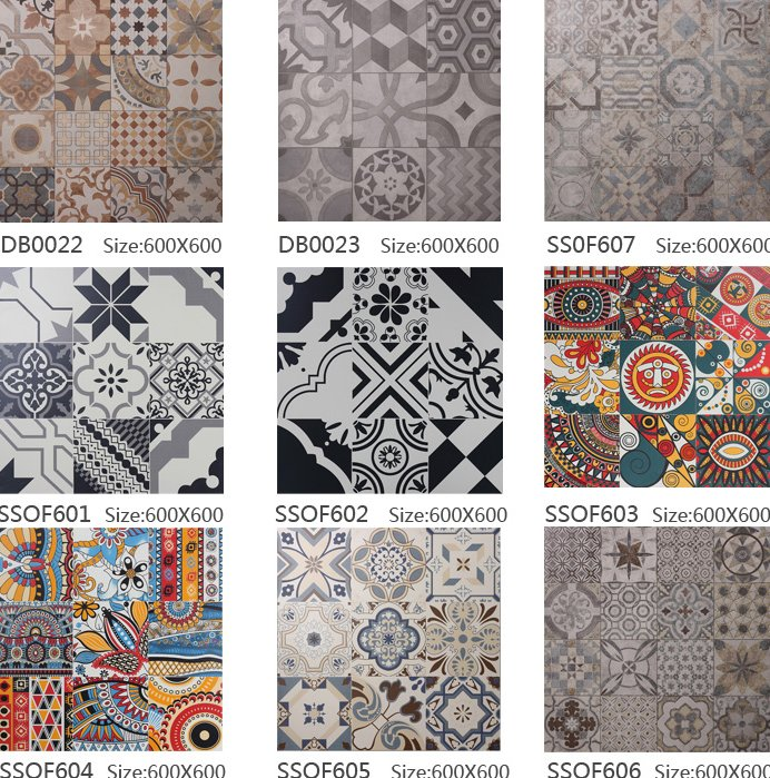 600x600 /rustic /abstract/ black&white /Jane Spanish style /dining room/ art floor tile