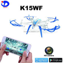 K15WF 4CH 6 axis wifi app control rc toy quadcopter drone with 3D flip