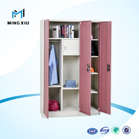 Mingxiu office furniture 3 door steel wardrobe cabinet / iron almirah designs