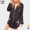 Latest designs sexy black embroidered satin night sleepwear for women