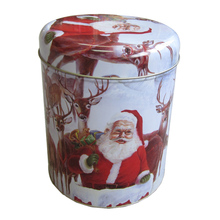 Custom Printed Food Contact Cookie Packaging Christmas Round Tin Box