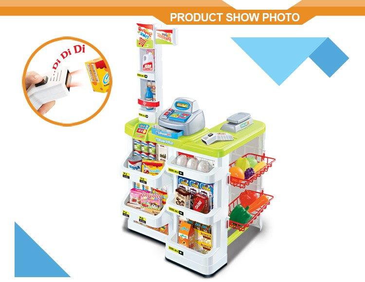 Supermarket cashier desk shopping trolley child toy game