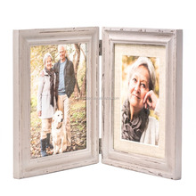 Wood Picture Frame with Glass Front American-style Antiquated Stands Vertically on Desktop or Table Top