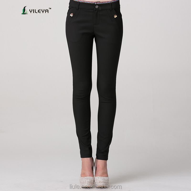 alibaba black high waist trousers with side pockets for ladies