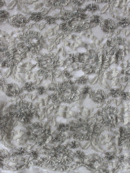 2014 Hand-Beaded Lace fabric/ crystal beaded lace for wedding dress