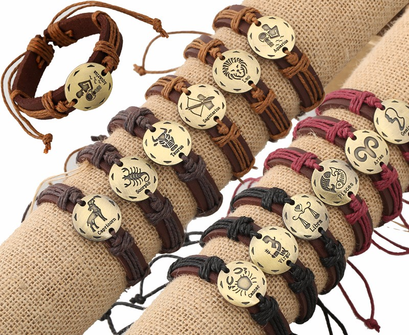 Zodiac Horoscope genuine Leather Bracelets charm Bracelet for women men, Free-size rope woven cuff Bangles Wristband B01121
