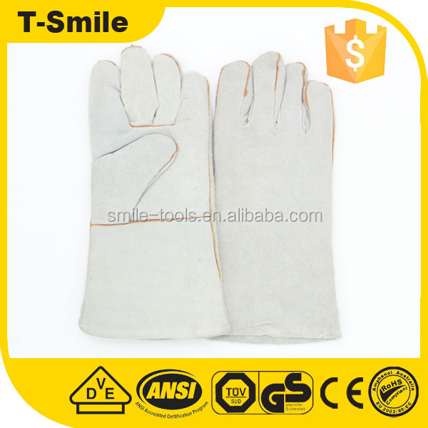 big hand elbow length leather gloves for heavy work for carpenter