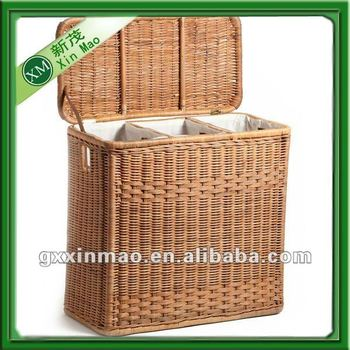 Large wicker laundry hamper with 3 compartments buy for Pier one laundry hamper