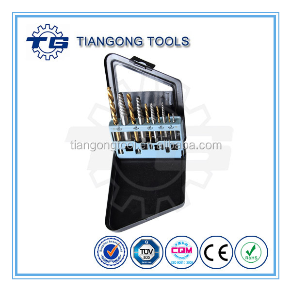 TG Tools 10pcs Power Drill accesory set,Bright Finishing Screw Remover & Tin-coating Drill Bits Set