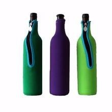 promotional eco-friendly insulated neoprene wine/beer/bottle cooler, vertical cooler holder with zip