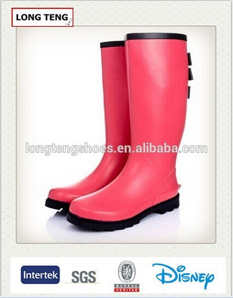 new design pink women latex boots for rain