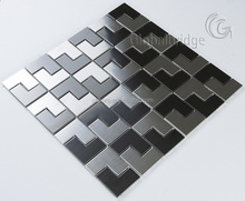 Stairs shape black and grey lowes stainless steel backsplash metal wall mosaic tile