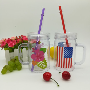 Food Grade 600ml Plastic mason jar with lid and straw BPAfree