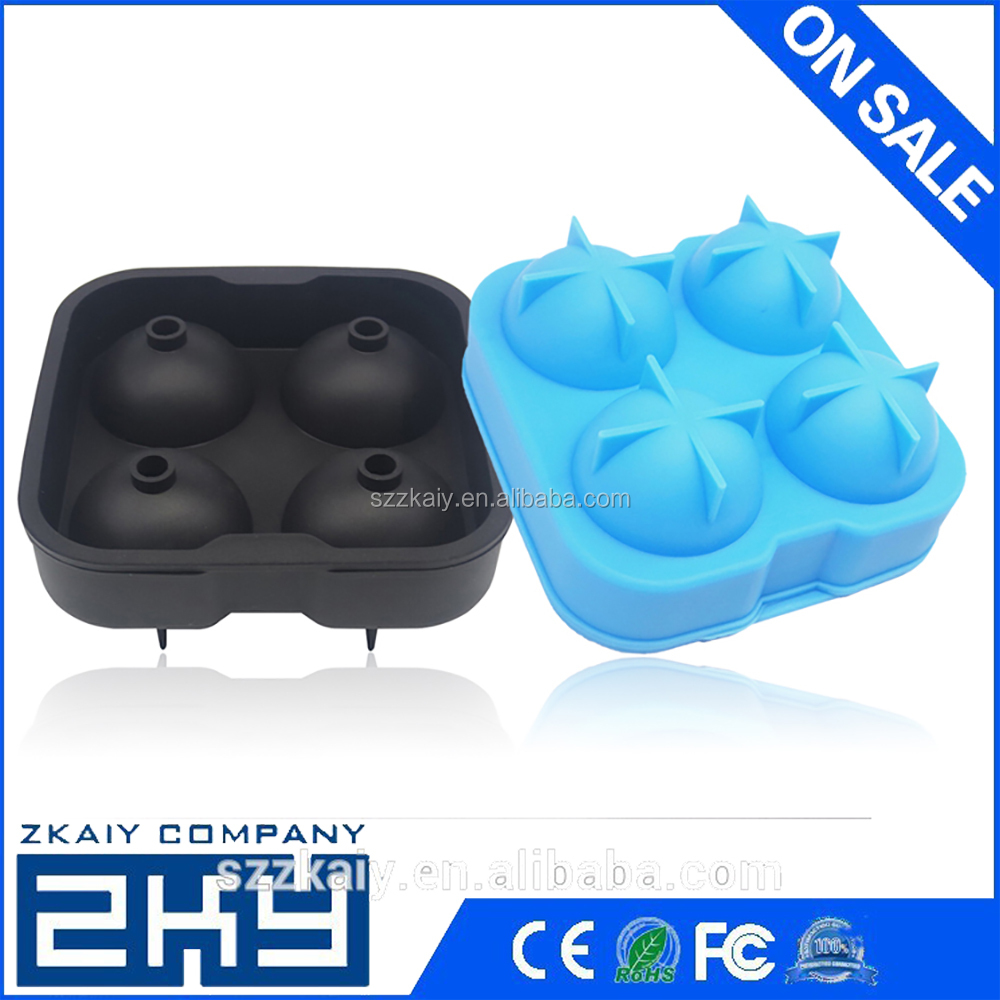 Whiskey Cocktail Ice Cube Ball Maker Mold 4 Large Sphere Mold Silicone NIVE