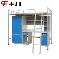 CKD queen metal frame apartment beds with desk and wardrobe
