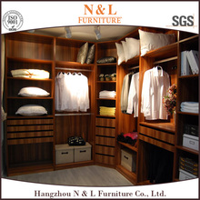 modular customized latest L-shaped bedroom wardrobe with mirror and various design
