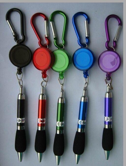 Promotional Badge Reel Pen Retractable Pen with Carabiner