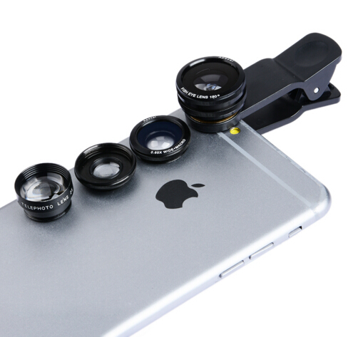 4 in 1 Kit Fish Eye+Wide Angle+Macro Telephoto 2X Cellphone Clip Lens for Apple iPhone 6 6S 6plus 5S 4 Smasung HTC phones CX4