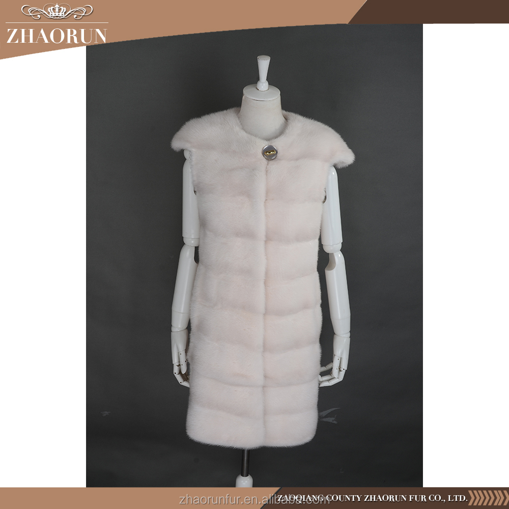 2017 Style New Fur Coat Women Long Pink Real Mink Fur Vest Fur Gilet