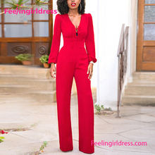 Fashion Long Sleeve V Neck Sexy Red Harem Jumpsuits Women 2017 Sexy