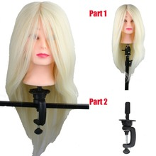 Dreambeauty 22inch Light Blonde Long Human and Synthetic Hair Hairdressing Dummy Mannequin Training Head with Wig Head Holder