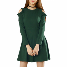 Wholesale Women Clothing Green Cold Shoulder A-Line Raglan Traditional Kintted Dress