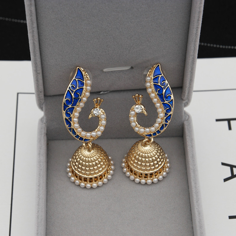 2018 Gold Pearl Blue Peacock Jhumka Drop Earrings Indian <strong>Jewelry</strong> Free Drop Shipping