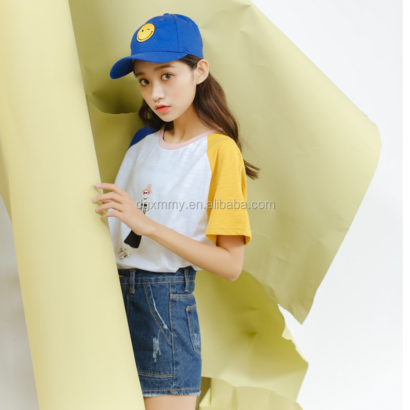 Ulzzang clothing harajuku t-shirt Korean rock 2017 summer cute little tide woman printed stitch bamboo custom t-shirt women