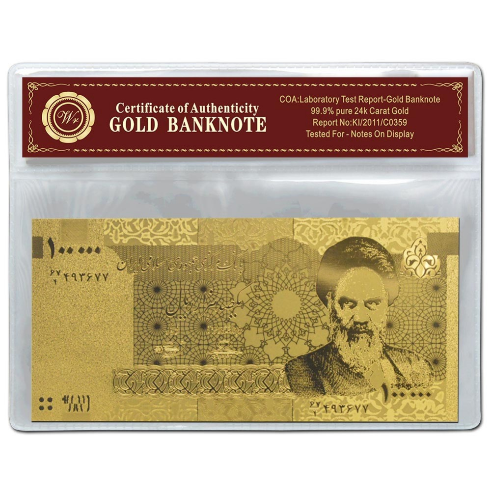 Art and Craft Iran 24K ND 2010Years 100,000 Rials Gold Banknote In PVC Frame