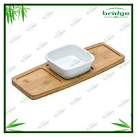 Bamboo wood lap serving tray
