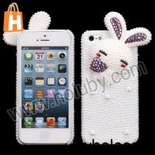 Lovely Rabbit Pattern 3D Pearl Diamond Hard Back Case for iPhone 5