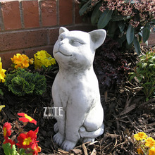 Outdoor Garden Life Size Stone Grining Cat Statue